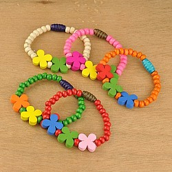 Bracelets colorés en bois pour enfants, cadeaux de fête des enfants, élastique, couleur mixte, 45mm(BJEW-JB00740)