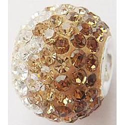 Perles européennes avec cristal autrichien de simple core en argent sterling , Perles avec un grand trou   , rondelle, 246 _lt. Colorado Topaz, 14x12mm, Trou: 4.5mm(CPDL-D001-6)