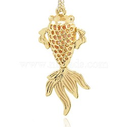 pendentifs de collier de poisson rouge creux en alliage d'or sans nickel et sans plomb, plaqué longue durée, 46x20x10 mm, trou: 1 mm(PALLOY-J218-139G)