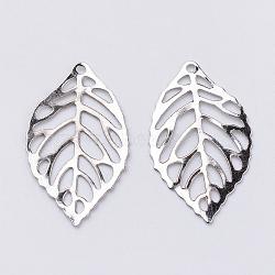 Iron Pendants, Etched Metal Embellishments, Leaf, Platinum, 20.5x12x0.3mm, Hole: 1mm(X-IFIN-T002-41P)