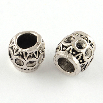 Tibetan Style Alloy European Bead Rhinestone Settings, Lead Free, Rondelle, Antique Silver, 9.5x9.5mm, Hole: 5mm; Fit for 2.5mm rhinestone; about 398pcs/1000g(TIBE-R295-066AS-LF)