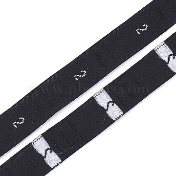 Clothing Size Labels(2), Garment Accessories, Size Tags, Black, 12.5mm; about 10000pcs/bag(OCOR-S120C-01)