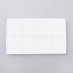 Plateaux d'affichage à bijoux en plastique, 8 compartiments, blanc, 12.7x7.5x0.4 cm(ODIS-R004-01A)