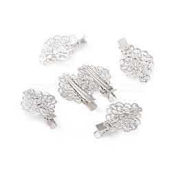 Iron Alligator Hair Clips, Long-Lasting Plated, Flower, Platinum, 45x30x11mm(PHAR-F004-02P)
