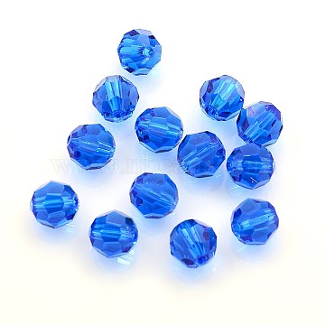 Austrian Crystal Beads, 8mm Faceted Round, Royal Blue, hole: 1mm(X-5000_8mm243)