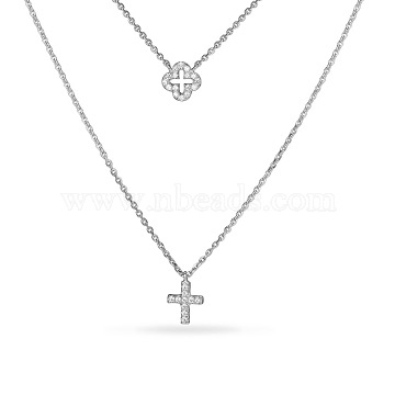 TINYSAND CZ Jewelry 925 Sterling Silver Cubic Zirconia Cross Pendant Two Tiered Necklaces, Silver, 21 inches&17 inches(TS-N022-S-18)