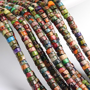 Dyed & Heated Natural Imperial Jasper Beads Strands, Heishi Beads, Flat Round/Disc, Colorful, 4~4.5x2mm, Hole: 1mm, about 180pcs/strand, 16 inches.(X-G-M276-06-C)