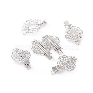Iron Alligator Hair Clips, Flower, Platinum, 45x30x11mm(PHAR-F004-02P)