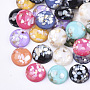 Translucent Resin Cabochons, with Shell Chips inside, Dome/Half Round, Mixed Color, 14x5.5mm