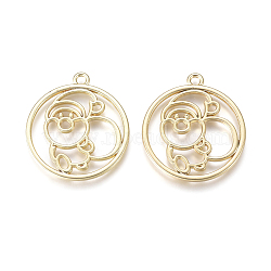 Christmas Alloy Open Back Bezel Pendants, For DIY UV Resin, Epoxy Resin, Pressed Flower Jewelry, Round Ring with Santa Claus, Golden, 24.8x22x1.5mm, Hole: 1.6mm