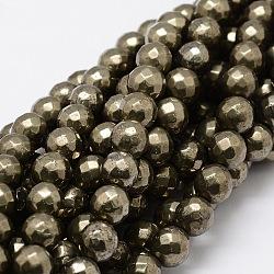 """Facettes brins ronds de perles de pyrite naturelle, 10mm, trou: 1mm; environ 40 pcs/chapelet, 15.3""""(G-L437-37-10mm)"""