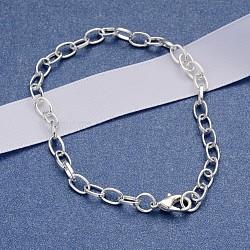 Fabrication de bracelet en chaîne de câble en fer avec pinces de homard, Diy de bracelet de mode de fabrication de bijoux, argenterie, 205 mm; fermoir: 12x7x3 mm; lien: 7x4.5x1 mm(X-IFIN-H031-S)