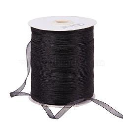 """Ruban d'organza, noir, 1/4"""" (6 mm); 500yards / roll (457.2m / roll)(RS6mmY039)"""