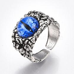 Bagues en alliage de verre, anneaux large bande, oeil de dragon, argent antique, bleu, taille 10, 20mm(RJEW-T006-01A)