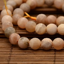 Natural Sunstone Round Bead Strands, Faceted, 8mm, Hole: 1mm; about 48pcs/strand, 15.1inches