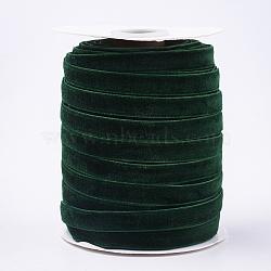 """Ruban de velours à face unique, darkgreen, 3/8"""" (9.5~10 mm); environ 50yards / rouleau (45.72m / rouleau)(SRIB-T004-01-02)"""