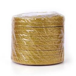 """Ruban métallique pailleté, Ruban scintillant, avec des cordons métalliques dorés, coffrets cadeaux valentine, or, 1/4"""" (6 mm); environ 33yards / rouleau (30.1752m / rouleau), 10 rouleaux / groupe(RSC6mmY-020)"""