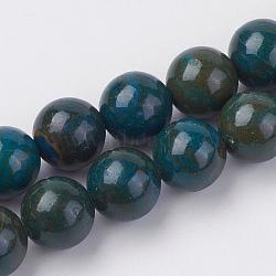"""Chapelets de perles en pierre gemme naturelle, teint, rond, prussianblue, 8mm, trou: 1mm; environ 46 pcs/chapelet, 15"""" (38 cm)(G-F560-8mm-A01)"""