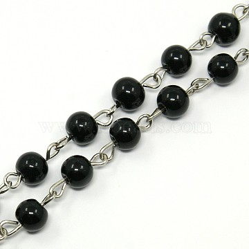 Handmade Glass Pearl Beaded Chains for Necklaces/Bracelets Making, with Iron Eye Pin, Unwelded, Black, 39.3 inches; about 77pcs/strand(AJEW-PH00633-05)