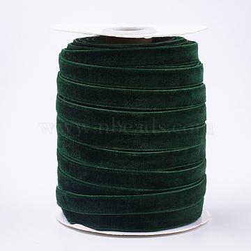 Single Face Velvet Ribbon, Dark Green, 3/8 inch(9.5~10mm); about 50yards/roll(45.72m/roll)(SRIB-T004-01-02)