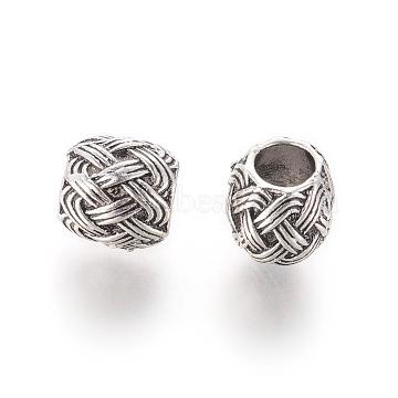 Alloy European Beads, Large Hole Beads, Imitation Woven Rattan Pattern, Drum, Antique Silver, 9~9.5x9.5mm, Hole: 5mm(X-PALLOY-E565-07B)