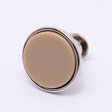Alloy Jeans Buttons, with Resin, Garment Accessories, Flat Round, Tan, 16x15mm, Pin: 1.2mm, Hole: 1.2mm(PJ-TAC0003-01P-09)