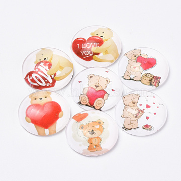 Printed Glass Flat Back Cabochons, Dome/Half Round, Bear with Heart Pattern, Mixed Color, 10x3.5mm(X-GGLA-Q056-005-10mm)