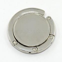 Flat Round Alloy Enamel Bag Hangers, Platinum, Tray: 32mm; 42.5~44x7mm; Hook: 85mm(BAGH-D003)