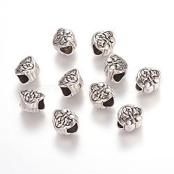 Perles d'alliage métallique, sans plomb et sans nickel, couleur argent antique, taille:  Largeur environ 10mm, Longueur 9mm, épaisseur de 7.5mm, Trou: 5mm(X-PALLOY-ZN-47871-AS)