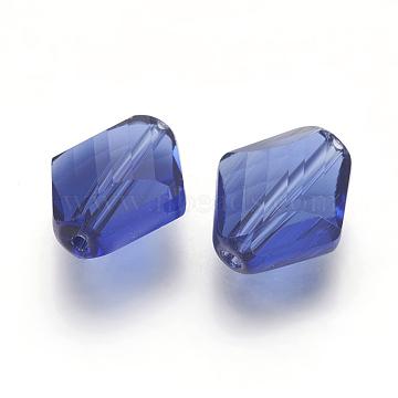 14mm PrussianBlue Rhombus Glass Beads