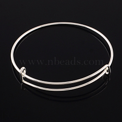 Adjustable Iron Expandable Bangle Making, Silver Color Plated, 2-1/2 inches(65mm)(X-BJEW-R038-S)