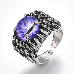 Bagues en alliage de verre, anneaux large bande, oeil de dragon, argent antique, blueviolet, taille 10, 20mm(RJEW-T006-05B)