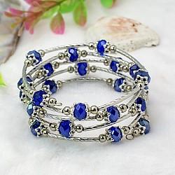 Bracelets enroulés à la mode, avec des perles de verre rondelles, Coupelles de style tibétain , laiton perles de tubes et de fils d'acier de la mémoire, bleu, diamètre intérieur: 55 mm(BJEW-JB00628-09)