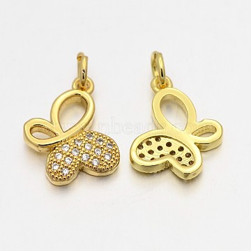 Golden Butterfly Brass + Cubic Zirconia Pendants