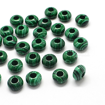 Synthetic Malachite European Large Hole Beads, Rondelle, 13~14x7~8mm, Hole: 5mm(X-G-Q442-06)