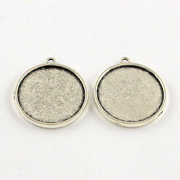 Tibetan Style Alloy Pendant Cabochon Settings, Double-sided Tray, Flat Round, Lead Free & Cadmium Free, Antique Silver, Tray: 20mm; 26x22.5x2.5mm, Hole: 1.5mm(X-TIBEP-S289-06AS-RS)
