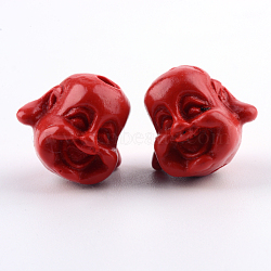 Perles de cinabre bijoux buddhist, tête de bouddha, firebrick, 9x10.5x9mm, Trou: 1.5mm(CARL-Q004-93A)