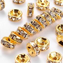 Perles séparateurs en laiton avec strass, Grade a, bride droite, métal couleur or, rondelle, cristal, 6x3mm, Trou: 1mm(RB-A014-Z6mm-01G)