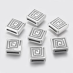 Perles de style tibétain, sans plomb et sans cadmium, cube, argent antique, longueur d'environ 14 mm ,  largeur de 14 mm, épaisseur de 5mm, Trou: 2x11mm(X-LF10999Y)