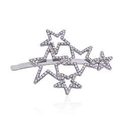 Strass cheveux en alliage épingles à cheveux, étoiles, platine, cristal, 65x47mm(PHAR-L002-07P)