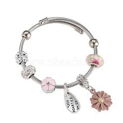 Bracelets européens, perles de verre, émail, strass, rose, argenterie(BJEW-BB34150-A)