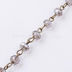 chaînes de perles rondelles facettées en verre à la main, avec épingle à oeil en fer, non soudée, bronze antique, gris, 8 mm; 1 m / brin(AJEW-PH00495-08)