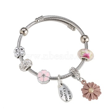 European Bracelets, with Glass Beads, Enamel, Rhinestone, Pink, Silver Color Plated(BJEW-BB34150-A)