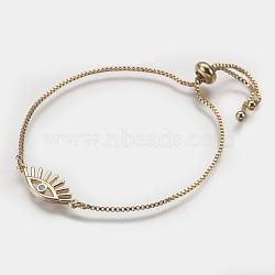 """Bracelets bolo réglables en laiton, Bracelets coulissants, chaînes de boîte, avec opale synthétique, mauvais œil, rose, 9""""~9-1/4"""" (230~235 mm); 1mm(BJEW-I240-06G-A)"""