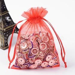 Sacs en organza, sacs de faveur de mariage, avec des rubans, rouge, 12x9 cm(X-OP-R016-9x12cm-01)