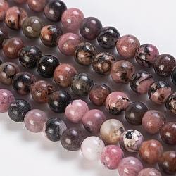 """Chapelets de perles en rhodonite naturelle, rond, 6mm, trou: 1mm; environ 64 pcs/chapelet, 15.3""""(G-K254-04-6mm)"""