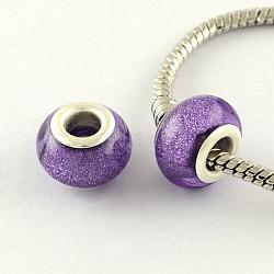Perles Européennes en acrylique avec grand trou, laiton avec ton argent noyaux doubles, rondelle, mauve, 14x9mm, Trou: 5mm(OPDL-R118-13B)