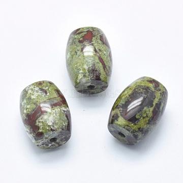 Natural Dragon Blood Jasper Beads, Half Drilled(Holes on Both Sides), Barrel, 24.5~25x18mm, Hole: 2.5~3mm(G-P384-U25)