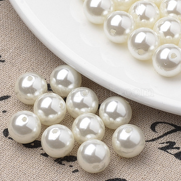 Eco-Friendly Plastic Imitation Pearl Beads Strands, High Luster, Grade A, Round, Beige, 4mm, Hole: 1mm, about 200pcs/strand, 31.4 inches(X-MACR-S285-4mm-05)