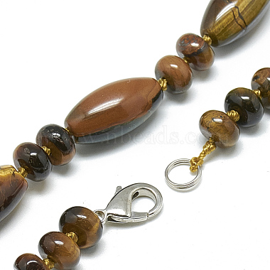 Natural Tiger Eye Beaded Necklaces(NJEW-S388-13)-2